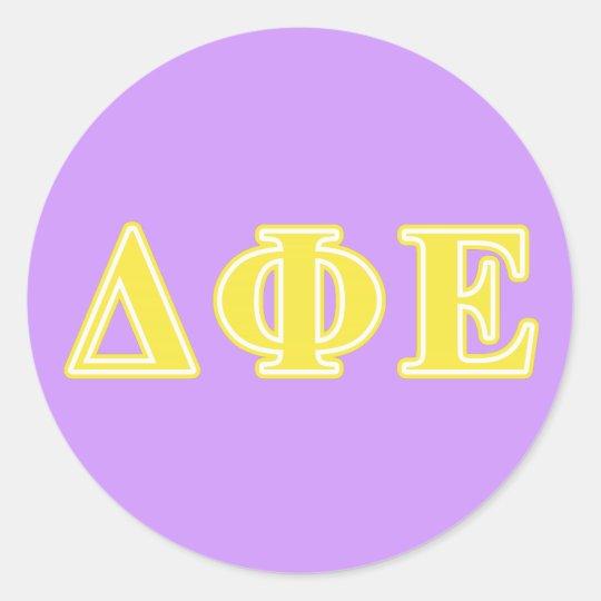 Delta Phi Epsilon Yellow Letters Classic Round Sticker