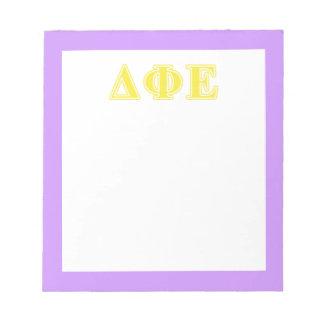 Delta Phi Epsilon Yellow Letters Notepad