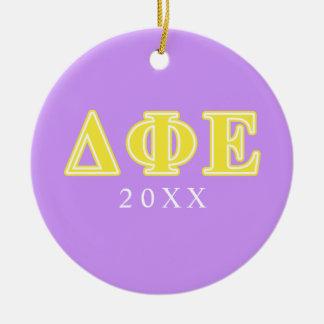 Delta Phi Epsilon Yellow Letters Christmas Tree Ornaments