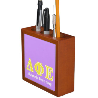 Delta Phi Epsilon Yellow Letters Pencil Holder