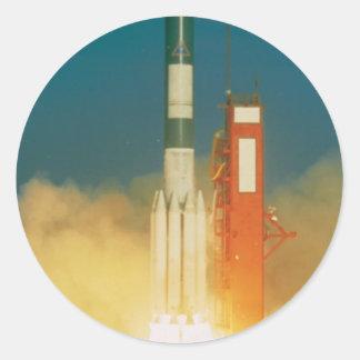 Delta Rocket Take-Off Classic Round Sticker