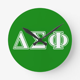 Delta Sigma Phi White Letters Round Wallclocks