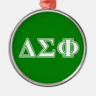Delta Sigma Phi White Letters Metal Ornament