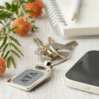 Delta Tau Delta Black Letters Silver-Colored Rectangular Metal Keychain