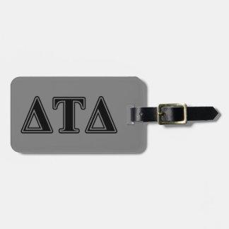 Delta Tau Delta Black Letters Travel Bag Tag