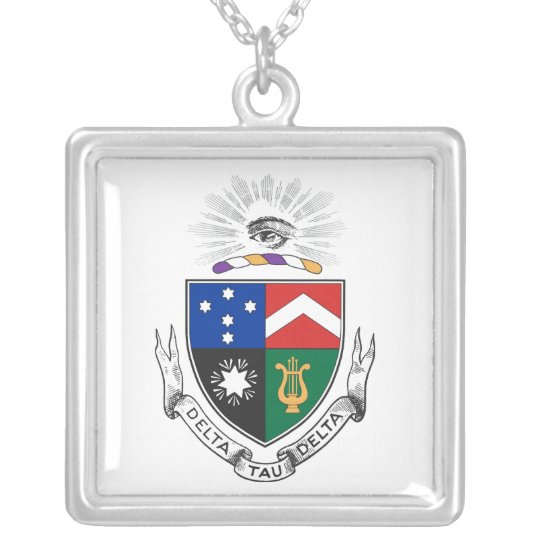 Delta Tau Delta Coat of Arms Silver Plated Necklace