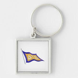 Delta Tau Delta Flag Silver-Colored Square Keychain