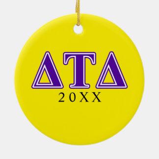 Delta Tau Delta Purple Letters Double-Sided Ceramic Round Christmas Ornament