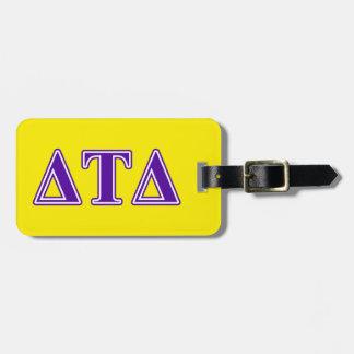 Delta Tau Delta Purple Letters Luggage Tag