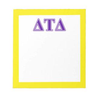 Delta Tau Delta Purple Letters Memo Pad