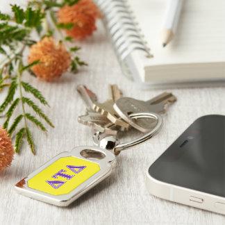 Delta Tau Delta Purple Letters Silver-Colored Rectangular Metal Keychain