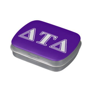 Delta Tau Delta White and Purple Letters Jelly Belly Tins