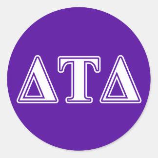 Delta Tau Delta White and Purple Letters Classic Round Sticker