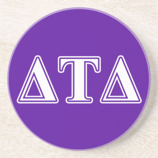 Delta Tau Delta White and Purple Letters Coasters