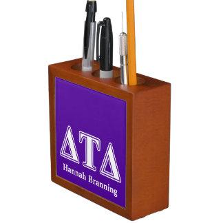 Delta Tau Delta White and Purple Letters Desk Organizers