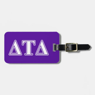 Delta Tau Delta White and Purple Letters Luggage Tags