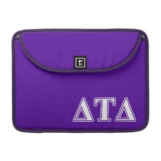Delta Tau Delta White and Purple Letters MacBook Pro Sleeve