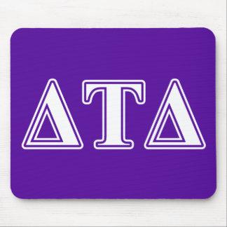 Delta Tau Delta White and Purple Letters Mousepads