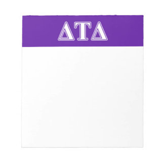 Delta Tau Delta White and Purple Letters Note Pads