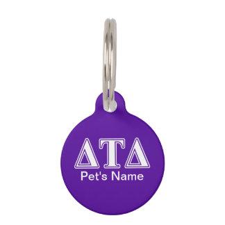 Delta Tau Delta White and Purple Letters Pet Name Tag