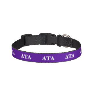 Delta Tau Delta White and Purple Letters Pet Collars