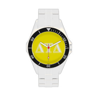 Delta Tau Delta White and Yellow Letters Wristwatch