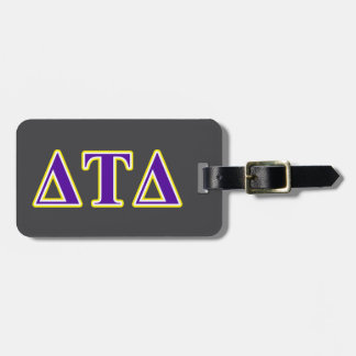 Delta Tau Delta Yellow and Purple Letters Bag Tag