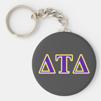 Delta Tau Delta Yellow and Purple Letters Basic Round Button Keychain