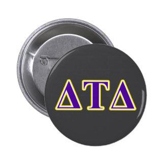 Delta Tau Delta Yellow and Purple Letters Button