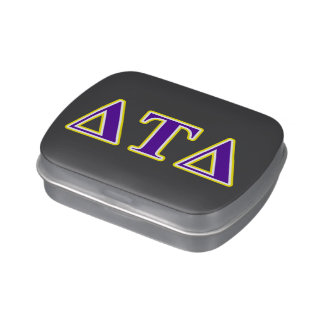 Delta Tau Delta Yellow and Purple Letters Jelly Belly Tins