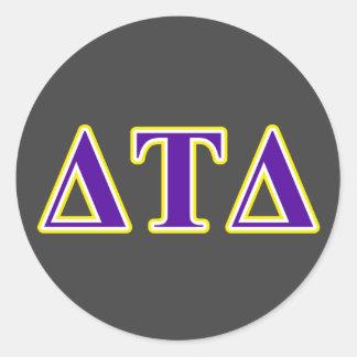 Delta Tau Delta Yellow and Purple Letters Classic Round Sticker