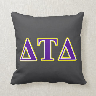 Delta Tau Delta Yellow and Purple Letters Throw Pillows