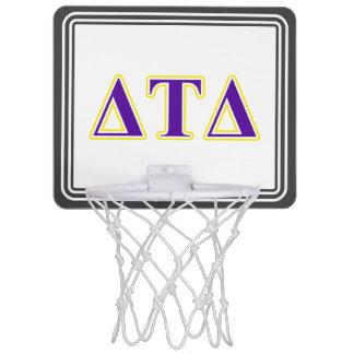 Delta Tau Delta Yellow and Purple Letters Mini Basketball Backboards