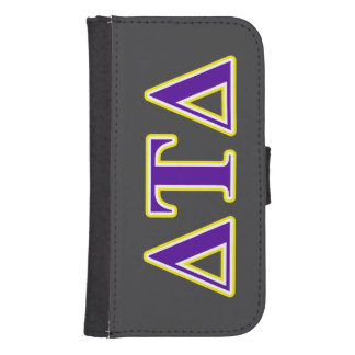 Delta Tau Delta Yellow and Purple Letters Phone Wallets
