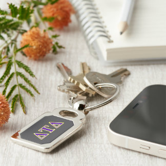 Delta Tau Delta Yellow and Purple Letters Silver-Colored Rectangular Metal Keychain
