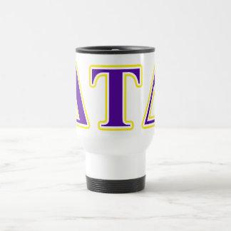 Delta Tau Delta Yellow and Purple Letters Travel Mug
