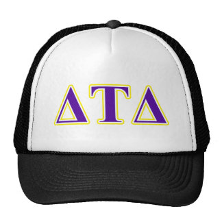 Delta Tau Delta Yellow and Purple Letters Trucker Hat