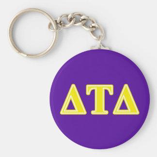 Delta Tau Delta Yellow Letters Basic Round Button Keychain