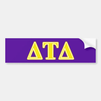 Delta Tau Delta Yellow Letters Bumper Sticker