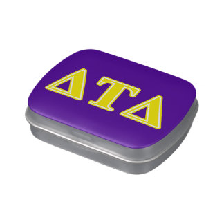 Delta Tau Delta Yellow Letters Jelly Belly Candy Tins
