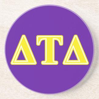 Delta Tau Delta Yellow Letters Drink Coaster