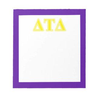 Delta Tau Delta Yellow Letters Memo Note Pads