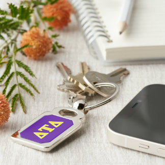 Delta Tau Delta Yellow Letters Silver-Colored Rectangular Metal Keychain