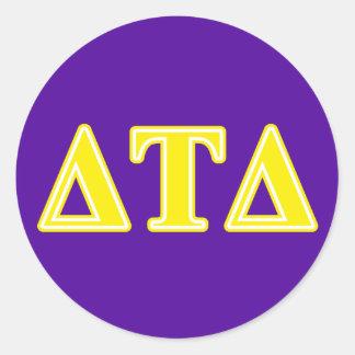 Delta Tau Delta Yellow Letters Round Stickers