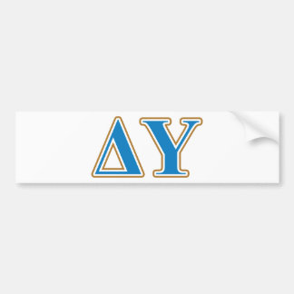 Delta Upsilon Gold and Sapphire Blue Letters Bumper Sticker
