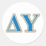 Delta Upsilon Gold and Sapphire Blue Letters Classic Round Sticker