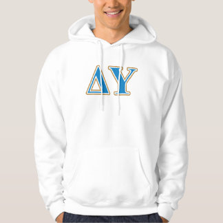 Delta Upsilon Gold and Sapphire Blue Letters Hoodie