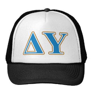 Delta Upsilon Gold and Sapphire Blue Letters Trucker Hat