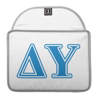 Delta Upsilon Sapphire Blue Letters Sleeves For MacBook Pro