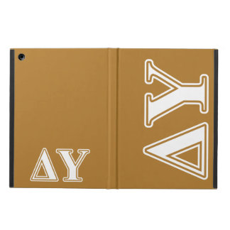 Delta Upsilon White and Gold Letters iPad Air Cover